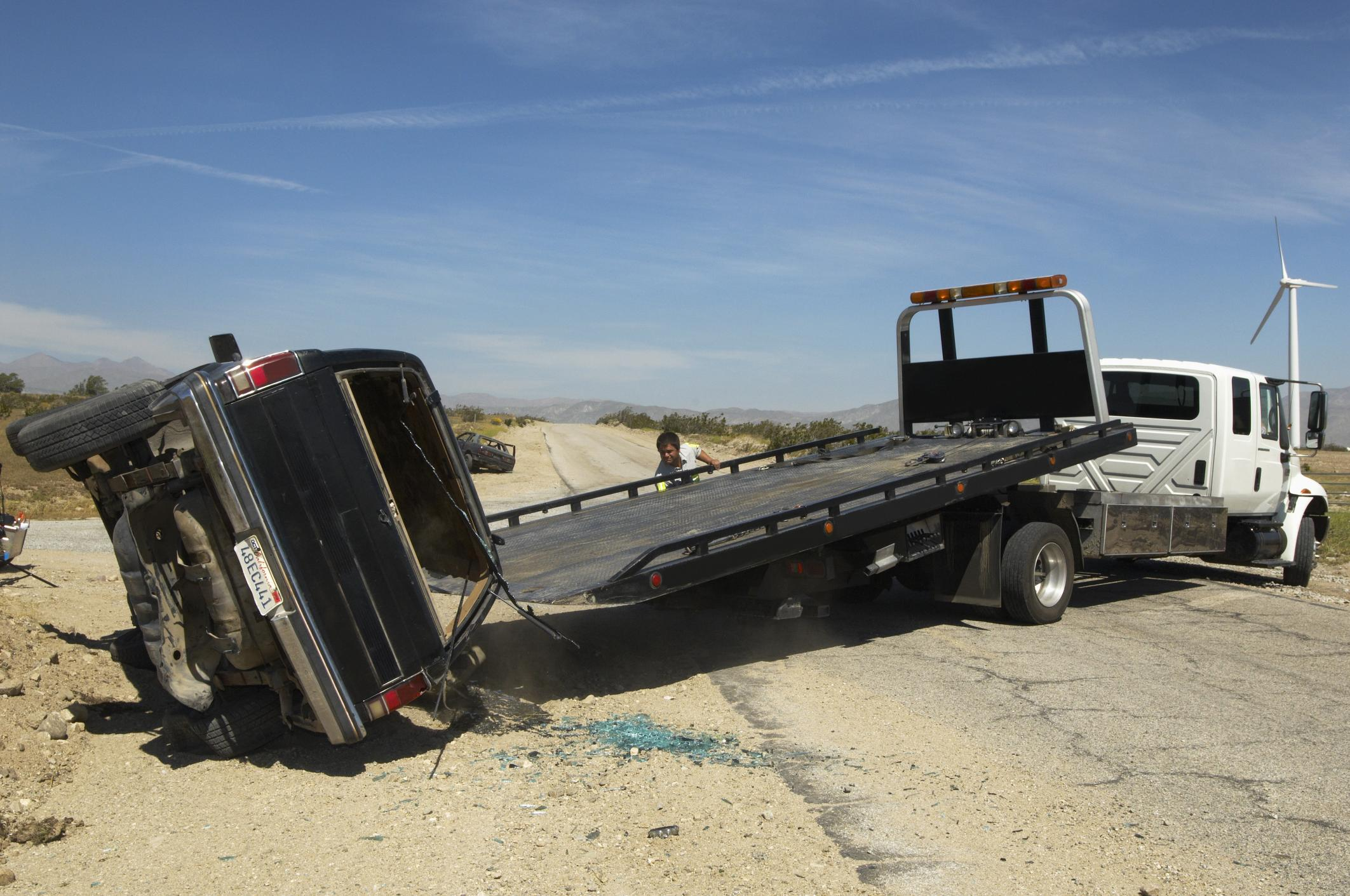 This is a picture of a 24 hour recovery towing.